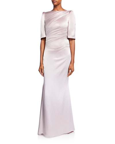 Ruched Satin Boat-Neck Mermaid Gown