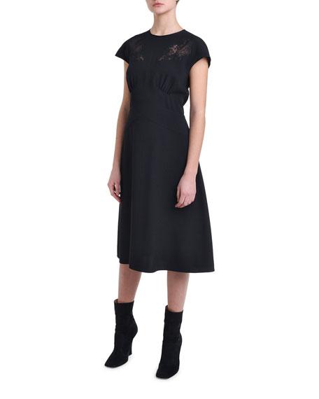 Cap-Sleeve Lace Trim Cocktail Dress