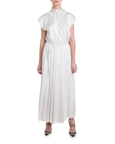 Pinstriped Toggle-Neck Pinstriped Dress