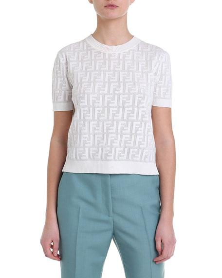 Short-Sleeve Logo Jacquard Sweater