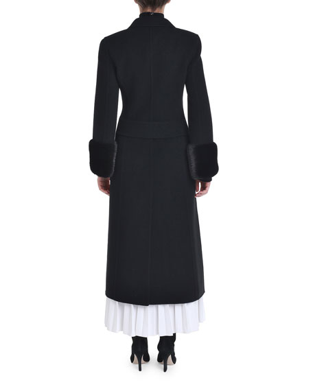 Cashmere Mink-Fur Cuff Double-Breasted Coat
