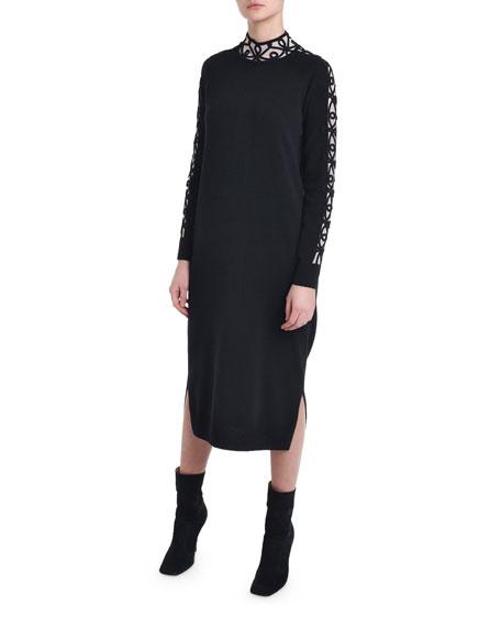 203ebe6cffd Fendi Cashmere Embroidered-Trim Sweater Dress