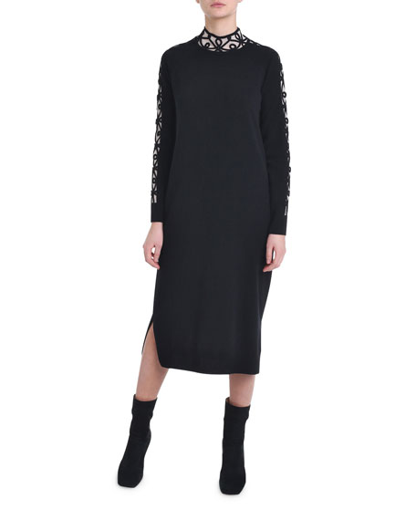 Fendi Cashmere Embroidered-Trim Sweater Dress