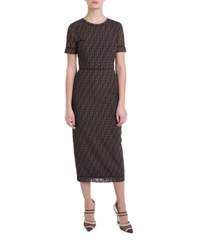 Logo-Print Mesh Midi Dress
