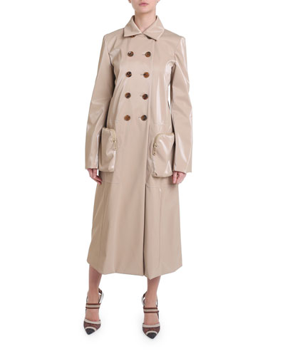 Double-Breasted Coated Tech Trench Coat
