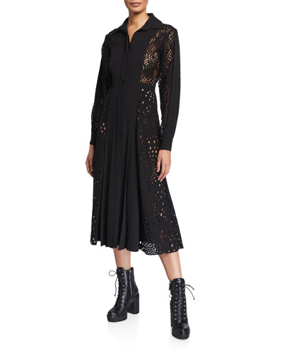 Lace-Inset Button-Front Shirtdress