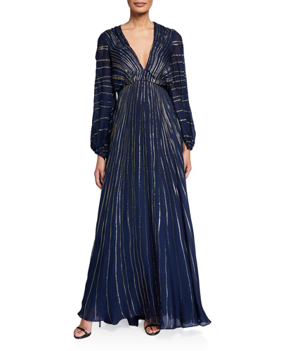 Sequin-Striped Long-Sleeve Gown