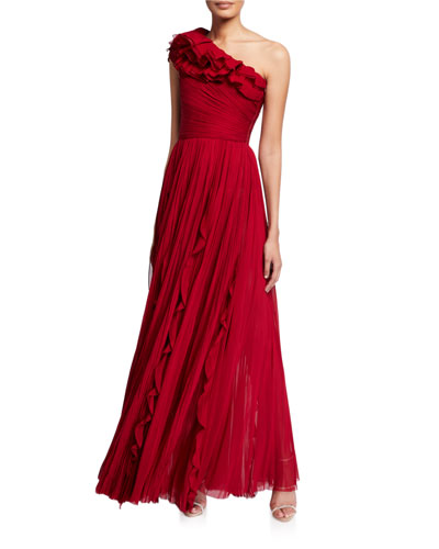 Silk Pleated One-Shoulder Ruffled Gown