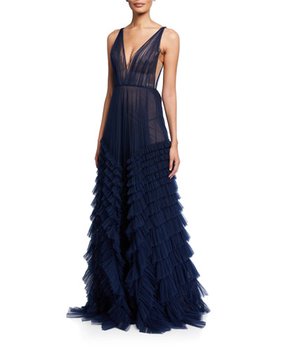 Tulle Plunging V-Neck Tiered Gown