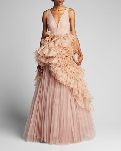 Pleated Tulle Gown with Ruffled Organza Peplum