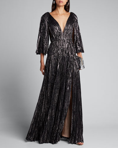 Shimmered Pleated-Silk Cape-Sleeve Dress