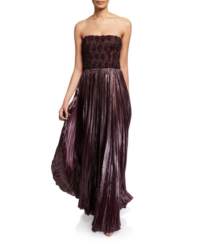Embroidered Bustier Gown w/ Pleated Skirt