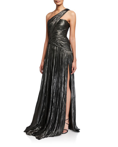 Pleated Silk One-Shoulder Gown