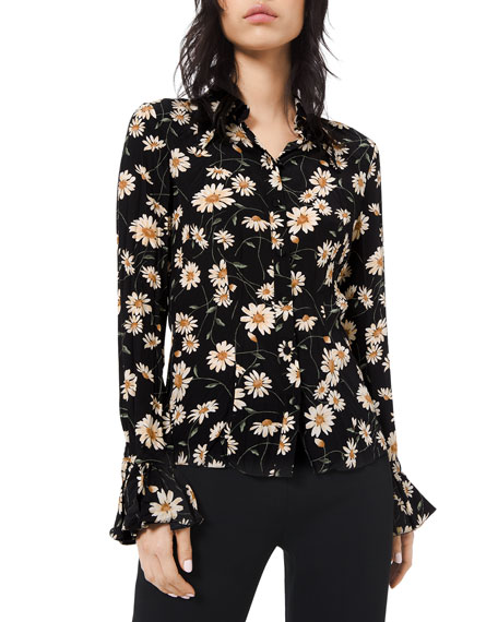 Floral-Print Crushed Bell-Sleeve Shirt