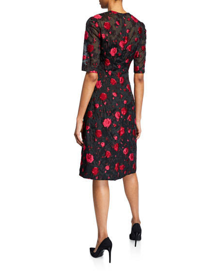 Holly Rose Fil Coupe Elbow-Sleeve Dress