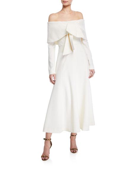 Off-the-Shoulder Tie-Front Midi Dress