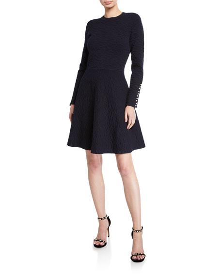 Wavy Crepe Long-Sleeve Full-Skirt Dress