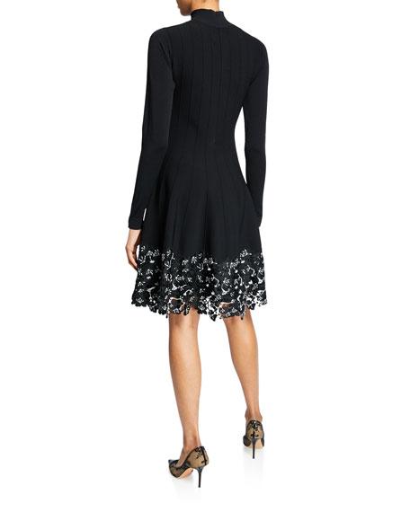 Turtleneck Lace Hem Dress