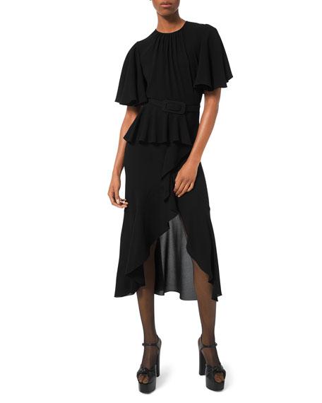 Michael Kors Belted Cascading Flutter-Sleeve Dress