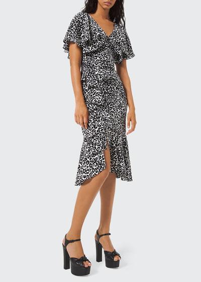Leopard-Print Cape-Sleeve Dress