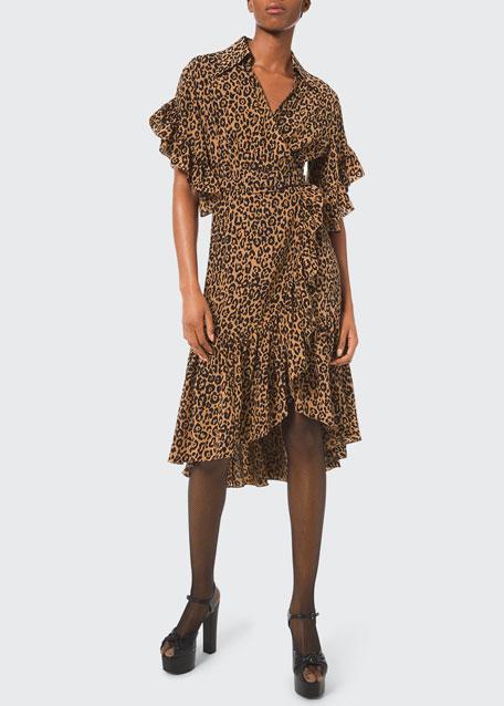 Michael Kors Belted Leopard-Print Ruffle-Wrap Dress