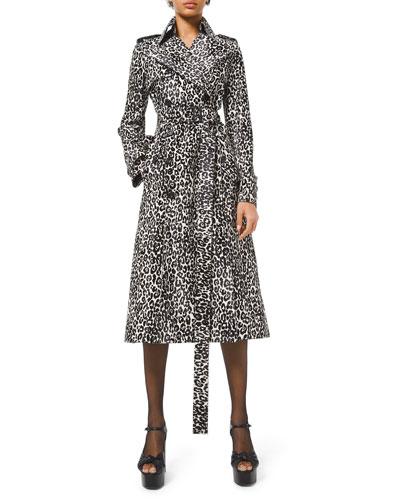 Cheetah-Print Calf Hair Trench Coat
