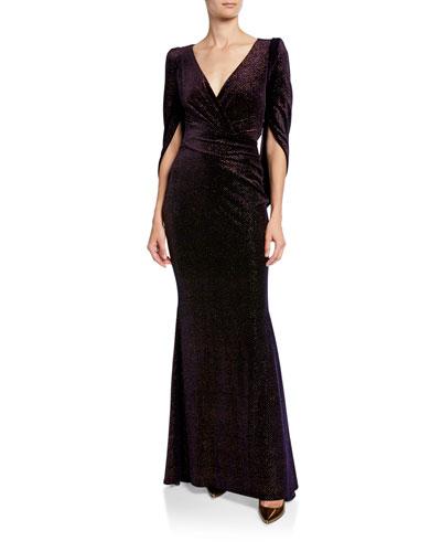 Rosin Stardust Velvet Jacquard Mermaid Evening Gown