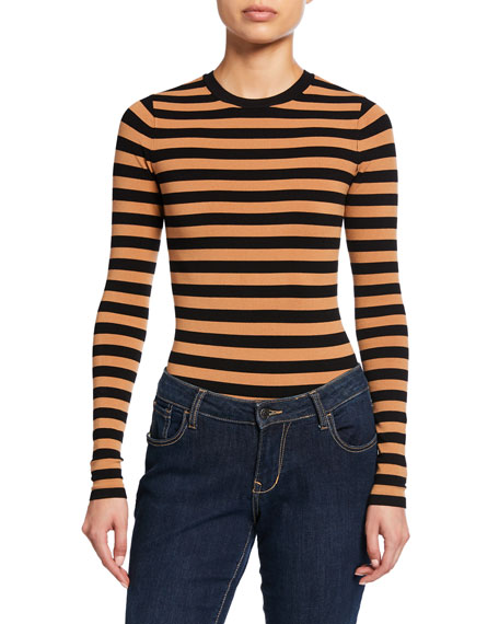 Long-Sleeve Striped Crewneck Bodysuit