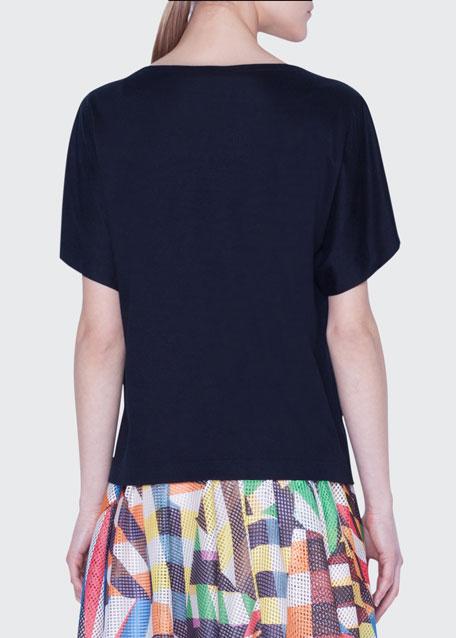 Boat-Neck Pixel Stud Jersey T-Shirt