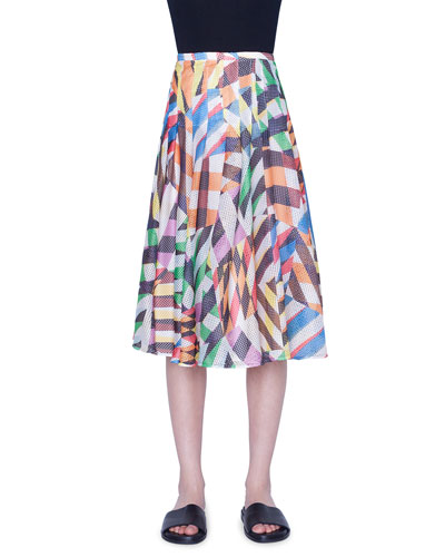 Patchwork Mesh Flounce Skirt