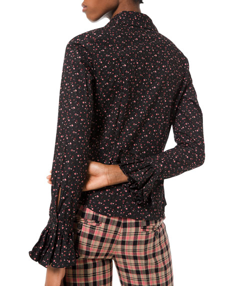 Floral-Print Crushed Bell-Sleeve Shirt, Black