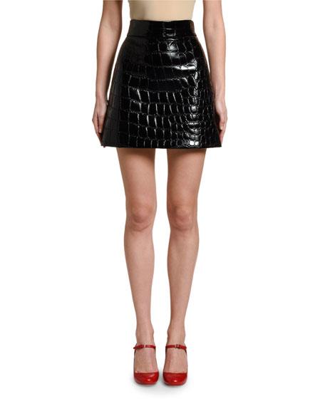 Croc-Stamped Mini Skirt