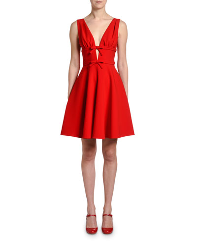 Sleeveless V-Neck Fit-&-Flare Dress w/ Bows