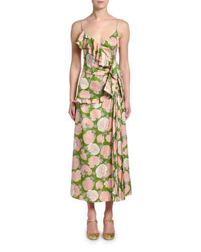 623a2c6bbc4b Floral-Print Wrapped Ruffle Midi Dress Quick Look. Miu Miu