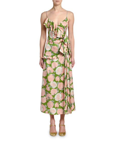 Floral-Print Wrapped Ruffle Midi Dress