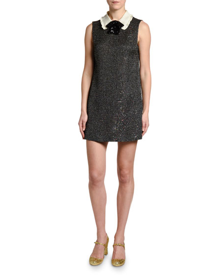 Sequined Boucle Collar-Neck Dress