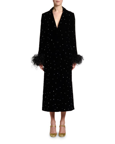 Feather-Cuff Crystal Velvet Robe