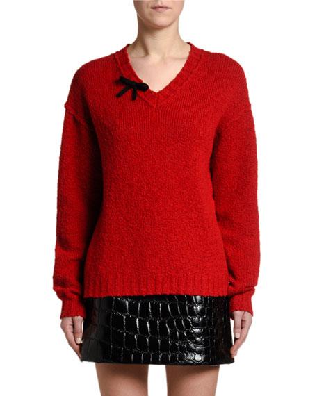 Miu Miu Distressed V-Neck Sweater w/ Bow
