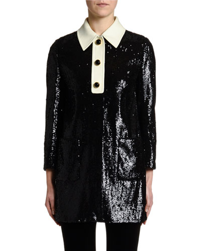 Sequined Long Jacket w/ Satin Collar