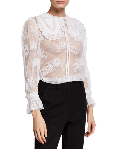 Round-Collar Lace Blouse