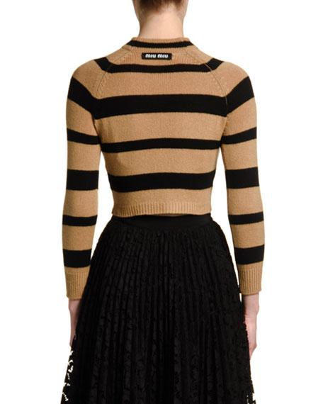 Cashmere Striped Crop Sweater
