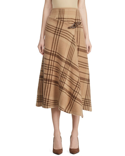Checked Cashmere Buckle-Wrap Skirt