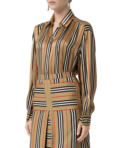 e496ea692a5 Promotion Icon-Striped Silk Button-Front Shirt Quick Look. Burberry