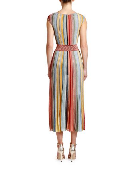 Striped V-Neck Sleeveless Maxi Dress