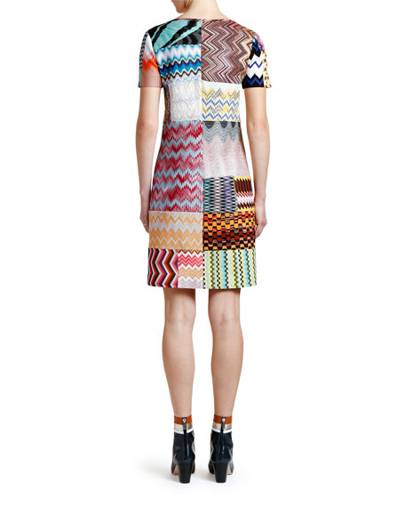 Patchwork Short-Sleeve Mini Dress