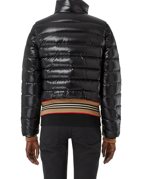 Striped-Trim Convertible Quilted Down Jacket w/ Removable Sleeves