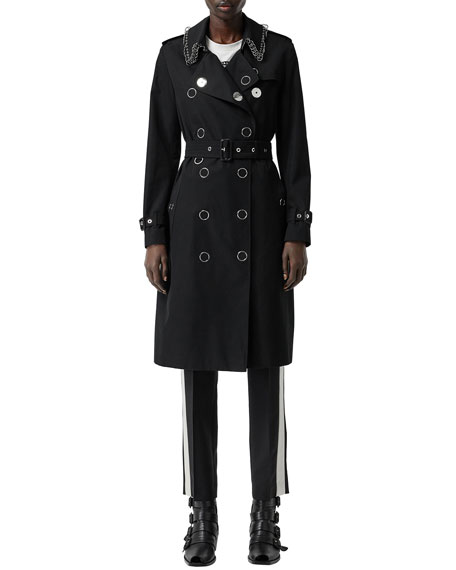 1d2358fa6e669c Burberry Kensington Punk-Ring Trim Cotton Trench Coat