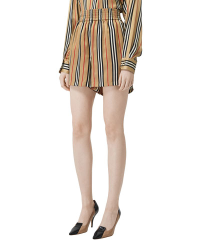 e0caf546caf Promotion Icon-Striped Silk Shorts Quick Look. Burberry