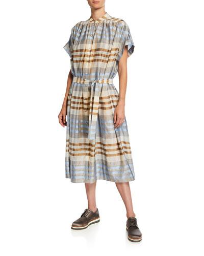 Plaid Wool-Silk Button-Front Shirtdress