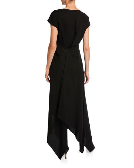 Draped Crepe Wide-Neck Dress